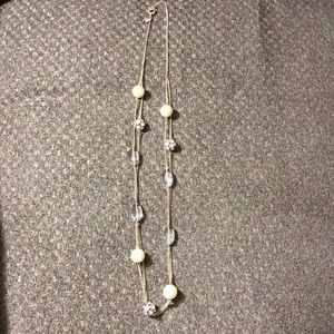 J. Crew long gold pearl and rhinestone necklace